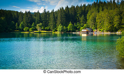 Fusine lower lake hut - Horizontal view of lower lake and...