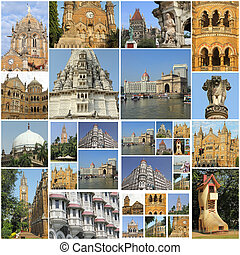 collage with famous landmarks of Mumbai city, India