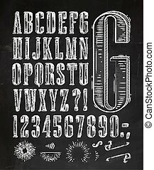 Vintage font letters chalk - Vintage font set letters in...