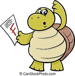 turtle with f mark cartoon illustration