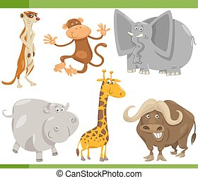 safari animals cartoon set illustration - Cartoon...