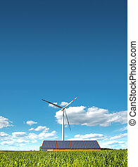 wind mill - A photography of a wind mill and solar panels