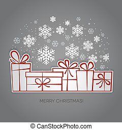 Merry Christmas gift greeting card Paper design - Merry...
