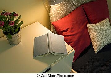 cómodo, dormitorio, interior,