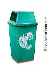 恐龍, 標識語, 上, 綠色, 塑料, 垃圾, 被隔离,...