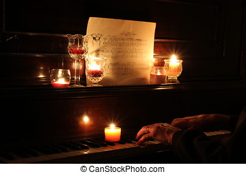 Candlelit mood music - hands on piano playing music by...