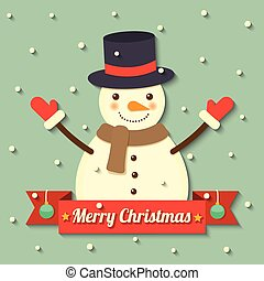 Christmas snowman background - snowman wearing hat and scarf...