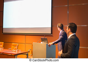 conferencia, orador, público, empresa / negocio