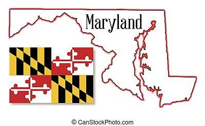Maryland, stato, mappa, e, bandiera,