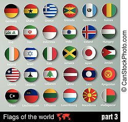 vector Flags of all countries with shadows