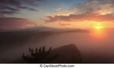 Timelapse sunrise in the mountains Ai-Petri Alupka, Crimea,...