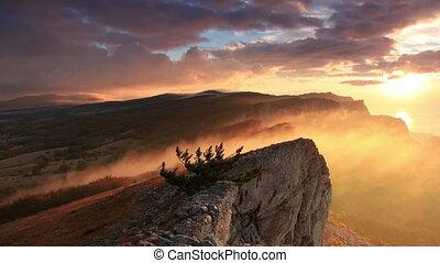 Timelapse sunrise in the mountains Ai-Petri. Alupka, Crimea,...