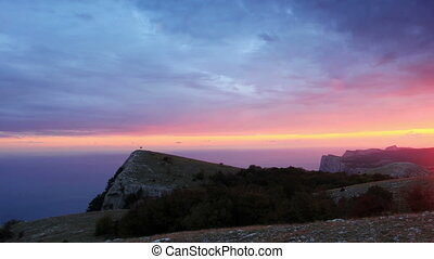 Timelapse sunset in the mountains Merdven-Kayasy. Crimea,...