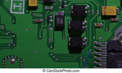 Circuit board with microchips. Electronics.