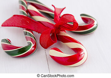 Christmas Candy Canes and Peppermint Sticks - 3 large red,...