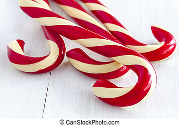 Christmas Candy Canes and Peppermint Sticks - 4 large red...