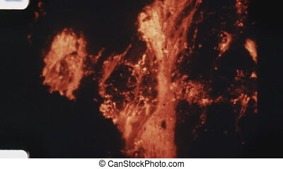 Lava flow. (Vintage 1970s film) - Lava flowing at night...
