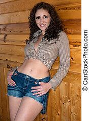 Brunette - Beautiful shapely brunette in western wear
