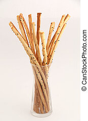 bread Stick - Bread stick in glass ready to serve.