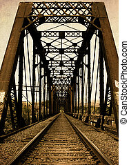 Railroad Trestle Bridge and RR Tracks from Old Vintage Retro...