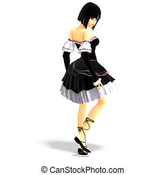 young sexy cartoon girl in gothic clothes