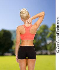 mulher, Tocar,  sporty, dela, pescoço