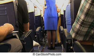 Cabin crew and trolley - A stewardess in the airplane is...