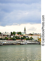 Belgrade cityscape on Danube - View of Belgrade city from...