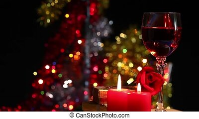 Glass of Wine Candles and Rose - Glass of Wine Candles and...