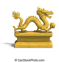 golden chinese dragon statue - a golden dragon with a ball....