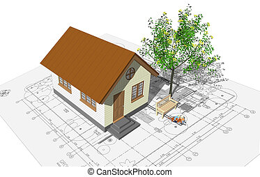 house model - 3D rendering of a house with garage on top of...
