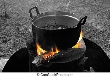 cooking on the Wood stoves 4 - cooking on the Wood stoves...