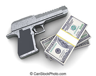 weapon and money - 3d illustration of pistol and money, over...