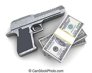 Arma, y, dinero,