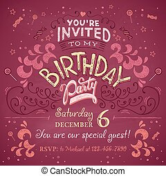 Birthday party invitation - Vintage birthday party...