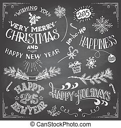 Christmas and New Years elements set - Collection of...
