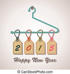 2015 word hanging on a hanger stock vector