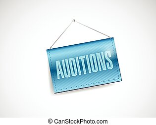 auditions hanging banner illustration design over a white...
