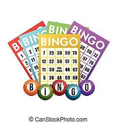 color bingo and balls illustration design over a white...