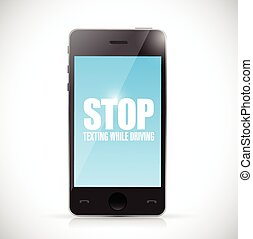stop texting while driving phone illustration design over a...