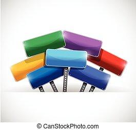 color signs inside a pocket illustration