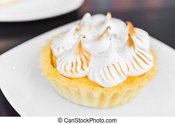 Lemon tart cakes in white plate