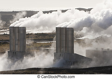 Geothermal Power Station in Iceland - Geothermal power...