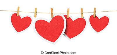 paper hearts on rope - paper hearts hanging from a rope, on...