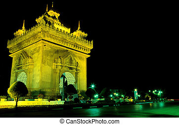 Patuxai (literally Victory Gate or Gate of Triumph),...