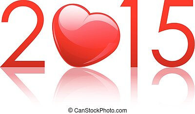 Vector 2015 New Year background with heart