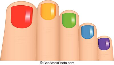 Vector illustration of colorful toenails