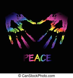 """Vector peace and love """"graffiti"""" illustration. Two hands make a"""