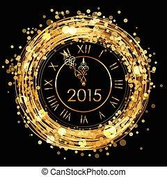 2015 - Vector shiny New Year Clock