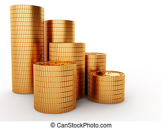 Golden coins isolated on white background with clipping path